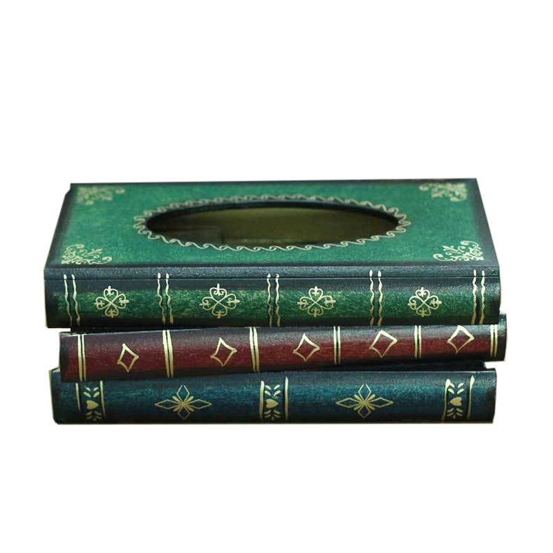 Top Selling Vintage Luxury Tissue Box Book Pattern Tissue Box Cover Living Room Decorative Tissue Holder Home Supplies