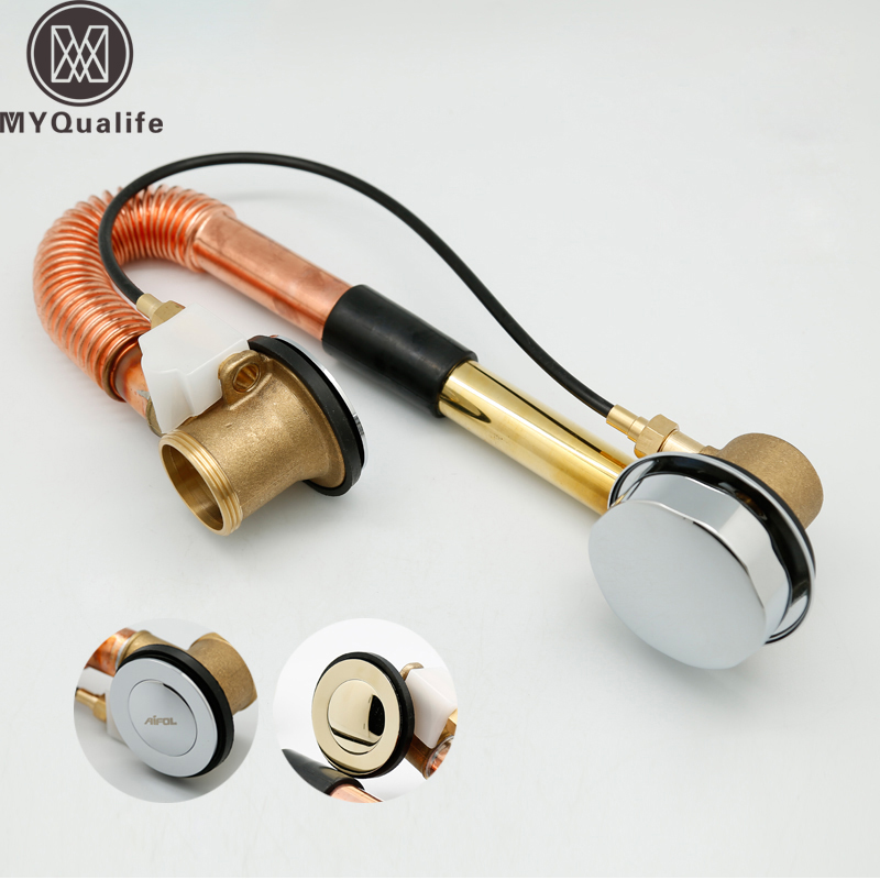 Free Shipping Brass Bath Pop Up Drain Rotable Bathroom Tub Sink Waste Drainer Bathtub Drain premium pop up bottle traps pop up click clack waste drain angel valve braided hose drain plumbing trap kit