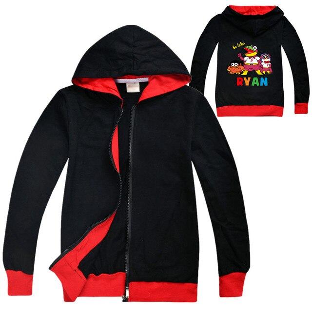 Ryan đồ chơi xem lại áo hoạt hình áo khoác trẻ em dây kéo áo Quần Áo Trẻ Em bé gái áo nỉ bé trai quần áo bé trai hoodie