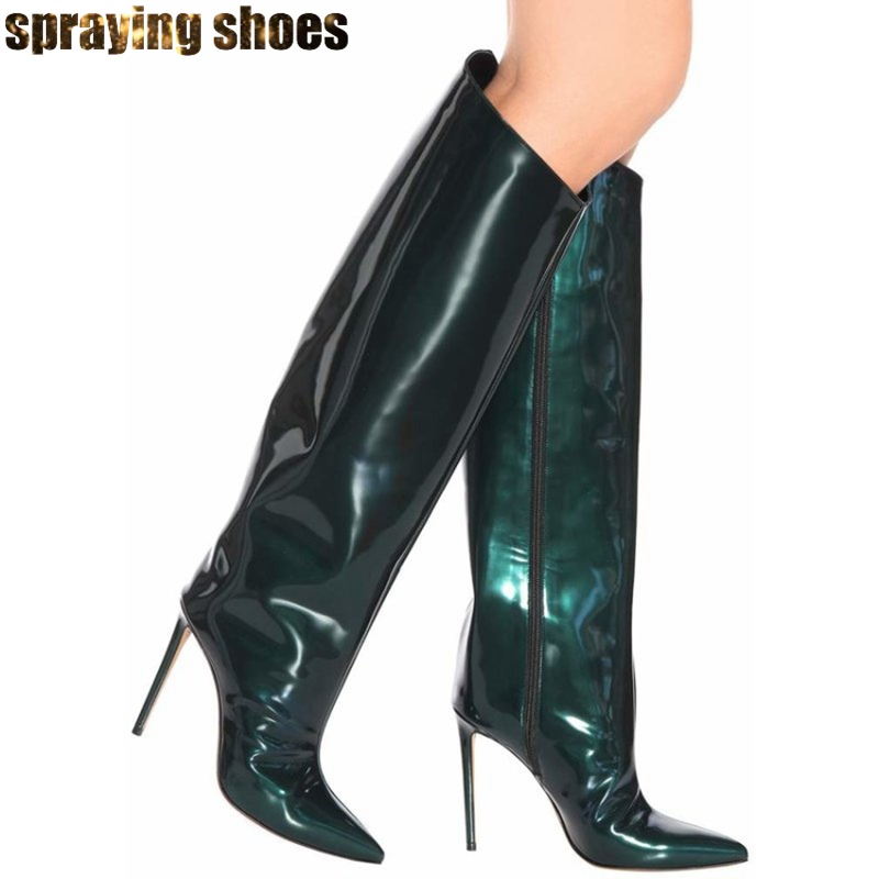 Fashion Runway Knee High Boots Sexy Pointed Toe Patent Leather Women High Heels Shoes Slip On Ladies Winter Pumps Riding BootsFashion Runway Knee High Boots Sexy Pointed Toe Patent Leather Women High Heels Shoes Slip On Ladies Winter Pumps Riding Boots