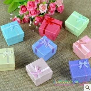 (24pcs/1lot)wholesale 4cm*4cm*3.2cm high quality bow ring box jewelry gift box free shipping