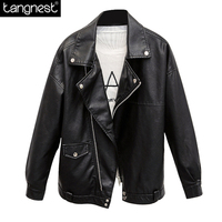 TANGNEST Boyfriend Oversized Faux Leather Motorcycle Jackets 2017 NEW Fashion Large PU Jacket For Woman Loose