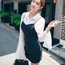 Korean Chic Fashion Women Set White Sheer Blouse + Cami Strip Dress Style Two Pcs Dress Set