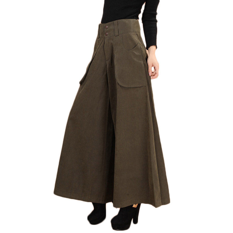 S-8XL Summer Autumn Plus size Women Wide Leg   pants   Loose With Pocket Jupe Femme Casual Straight Trousers   Capris   Culottes f1169