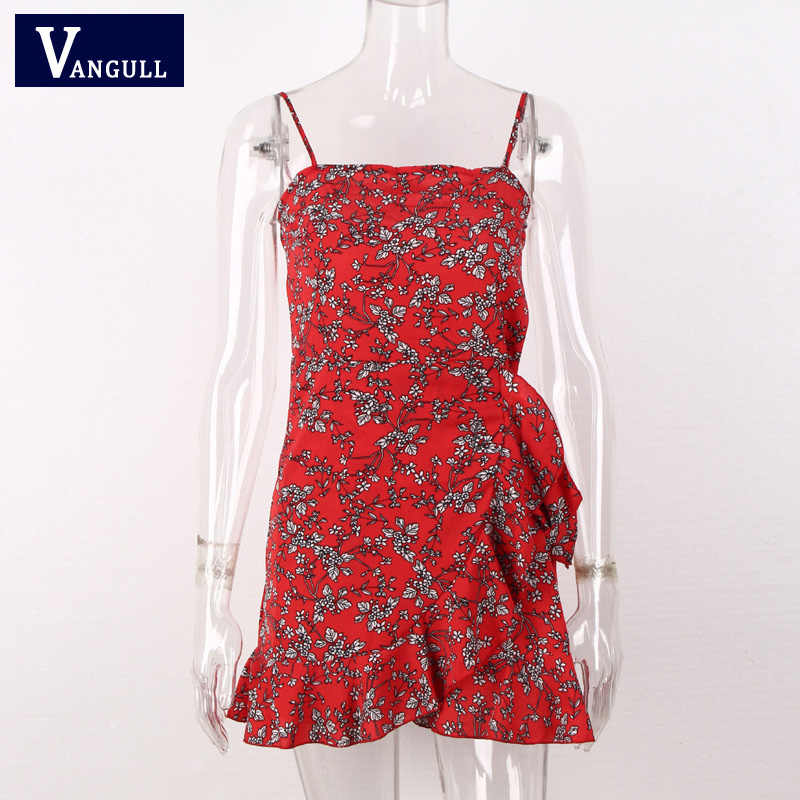 Vangull/летние туфли с ремешками под платье женские мини платья с косой вырез с оборками Новинка 2019 года, сексуальное Повседневное платье на бретельках с высокой талией Vestidos Mujur