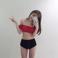 סקסי סטרפלס ביקיני סט חליפת שחייה Push Up גבוה מותן ביקיני נשים בגדי ים Bandeau Biquini החוף תלבש בגד ים נשי