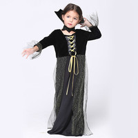 Halloween Vampire Princess Girl Vampire Halloween Dress Costume Dress Necklace Set Kid Party Dress Performance Cosplay