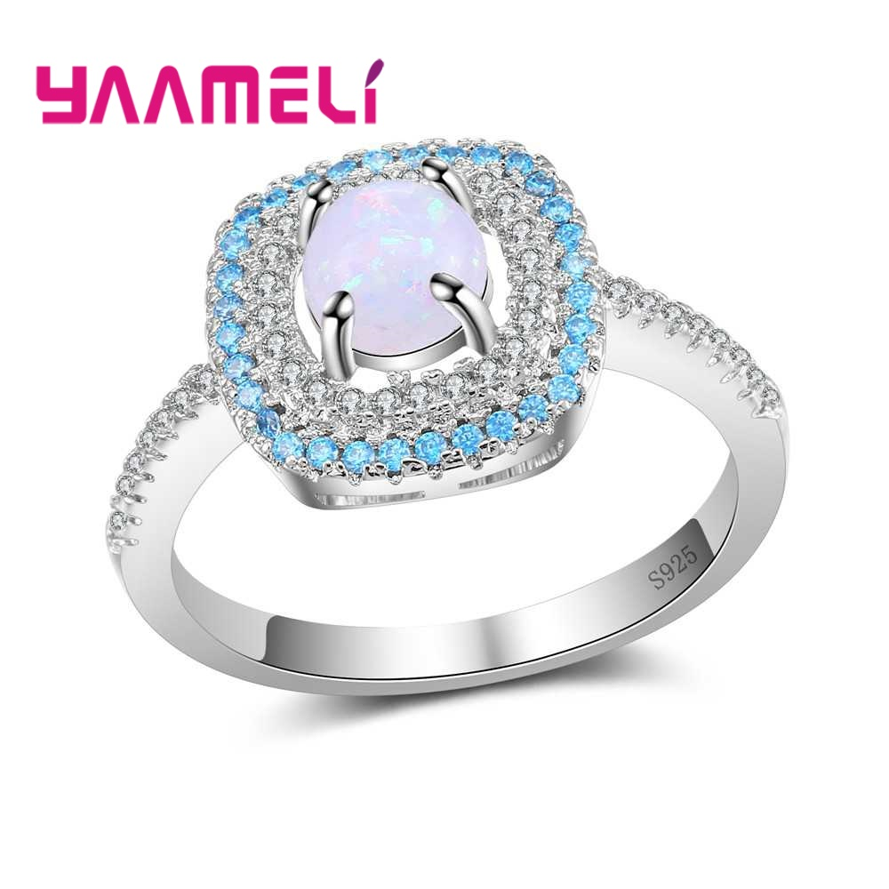 YAAMELI Paved Many Bright Cubic Zirconia 925 Sterling Silver With Round Opal Finger Rings Crystal Jewelry For Women Ladies Gift
