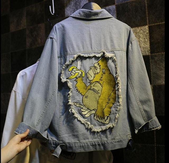 2016 Банан Обезьяна вышитые джинсовые куртки женщины диких свободные куртка приток женщин