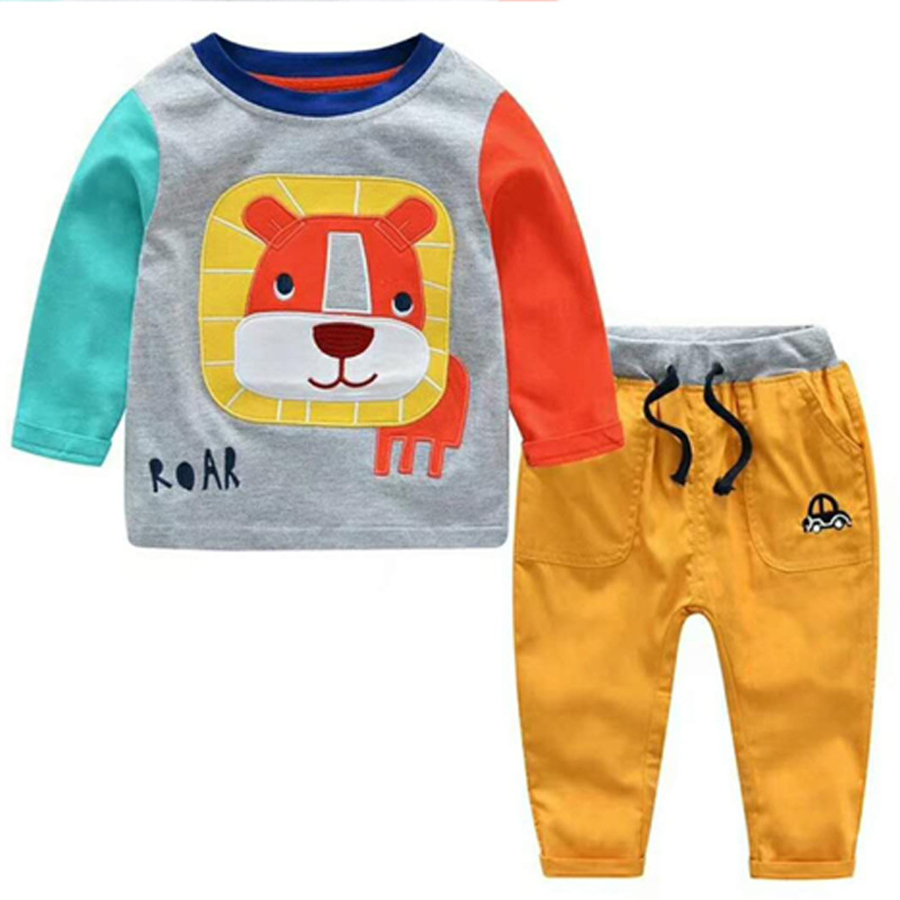 New Style Casual  Kids Baby Boy Clothes long Sleeve Cartoon bear shirts Tops T-shirts Pants Outfits 2Pcs Kids clothing Set