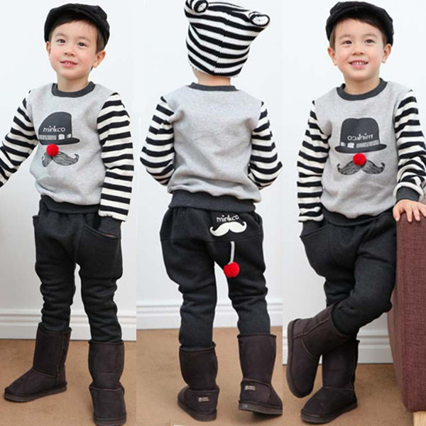 New arrival children clothing set  boy cartoon beard pattern suit 100% cotton long sleeve T-shirt+pants free shipping new arrival spring autumn children clothing set 100% cotton boy leisure navy style long sleeve t shirt pants suit free shipping