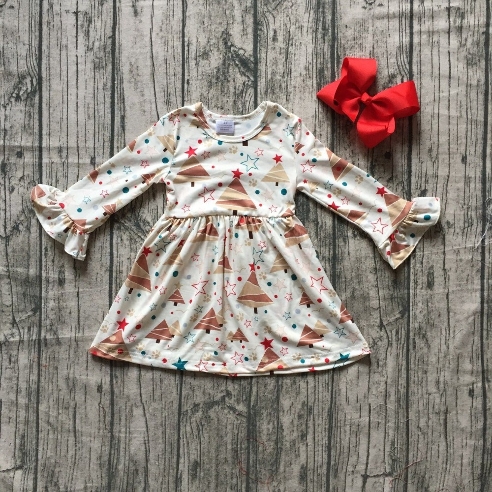все цены на milk silk Christmas tree fall/winter baby girls cotton outfit white ruffle dress children clothes boutique match accessory bow онлайн