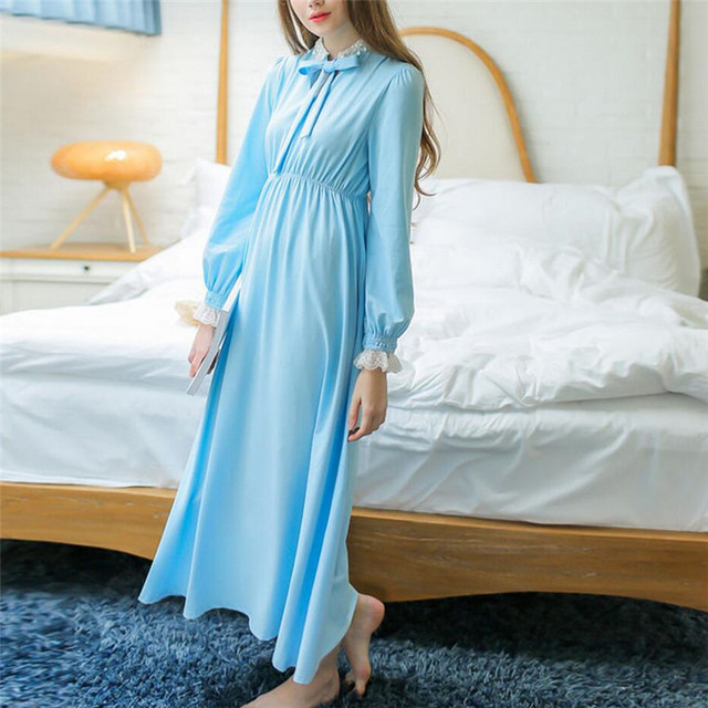 1750ffdb601 Autumn Elegant Vintage Nightgowns Women Long Cotton Indoor Clothing Lace  Collar With Bow Sweet Princess Nightdress