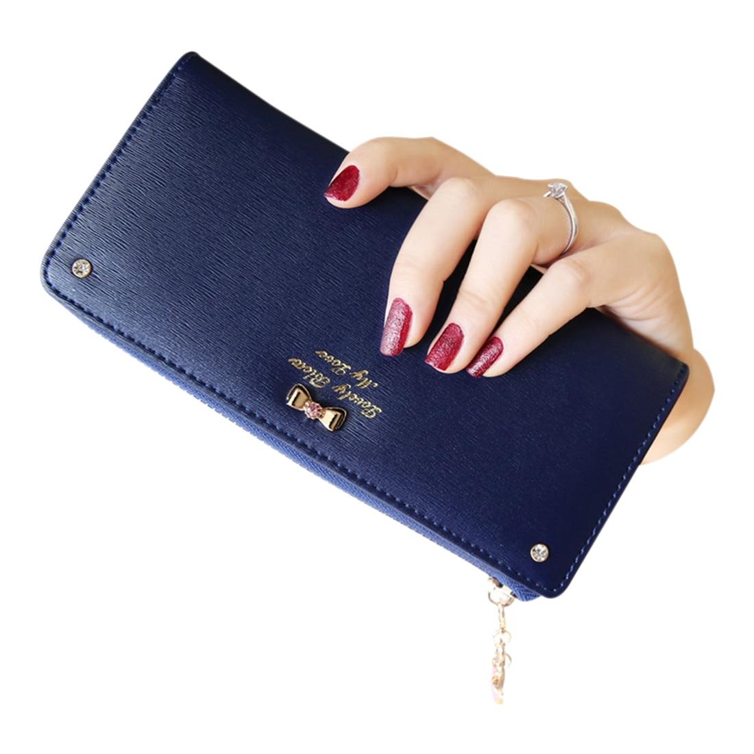FGGS bowknot pendant PU Leather Long Design Women Wallet Coin Purse Ladies Handbag Day Clutch Bag(Navy Blue)