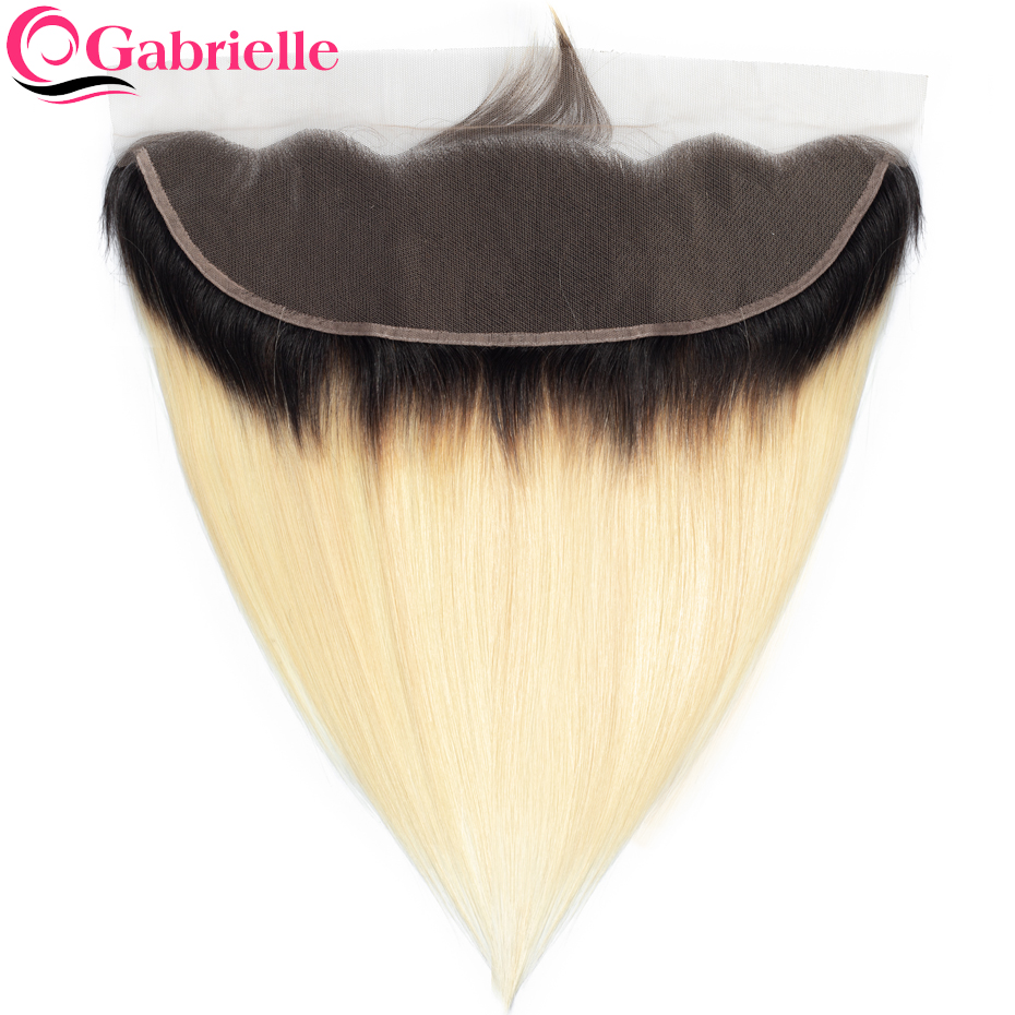 Gabrielle Ear-Closure Blonde Ombre Frontal Straight Brazilian Human-Hair-Extensions 13x4