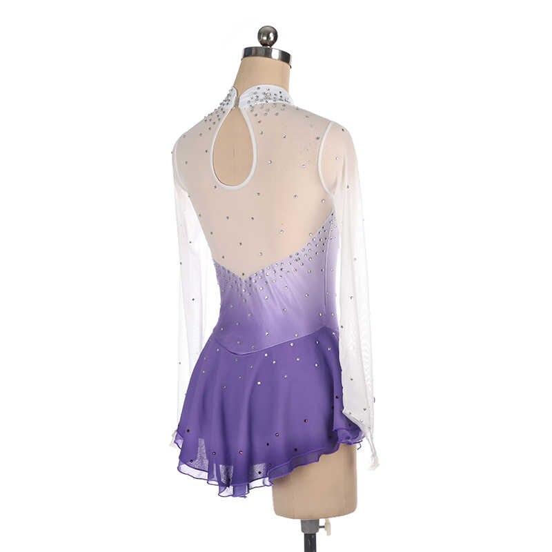 Nasinaya фигурное катание платье на коньках юбки для конькобежцев для девочек Для женщин; по индивидуальному заказу конкурсное выступление фиолетовый градиент блестящий