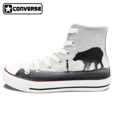 Gray Converse Chuck Taylor Men Women Shoes Kid And Bear Stare At Each Other Original Design Hand Painted Shoes High Top Sneakers