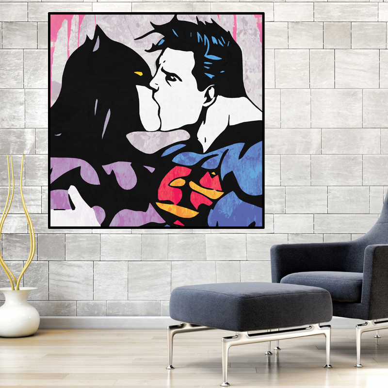 Big Art Print Posters Superhero Modern Pop Gay Love Movie Abstract Wall Picture No Frame Canvas Painting Bar Home Decor image