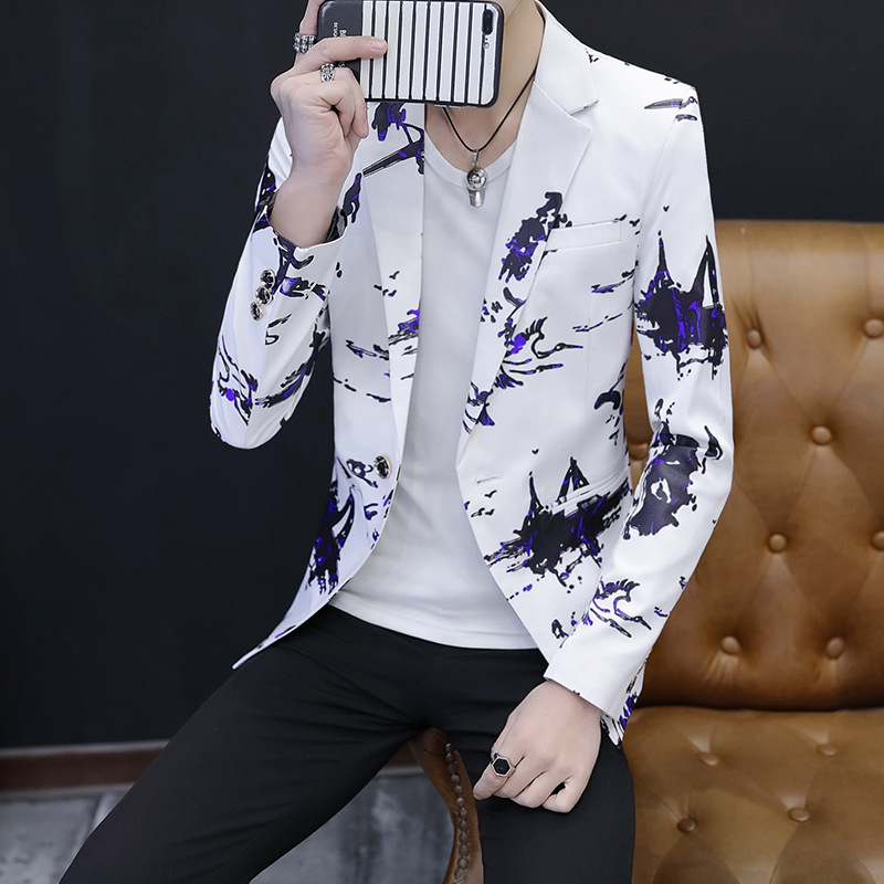 2020 The New Men's Cultivate One's Morality Youth Leisure Small Blazer Of Design And Color Printed Fashion Suits