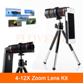 Universal 4-12X Zoom Optical Telephoto Lens Telescope Camera Lens with Tripod Case For iPhone 5 5s 6 6s 7 Plus 4 4S Samsung