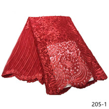 Hot sale red color bead African net lace fabric with milk fiber material New fashion stones for dresses 205
