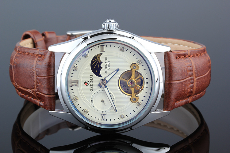 Automatic mechanical watch man waterproof business watch men s Leather Strap watch famous brand GEDIMAI Skeleton