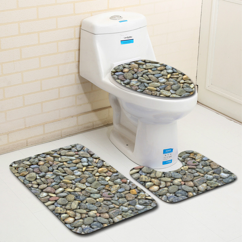 3pcs Bathroom Carpet Set Cat Eyes Printing Anti-slip Bath Mats Flannel Bathroom Kitchen Carpet Decor Floor Mat Toilet Cover Rug Bath Mats Bathroom Products