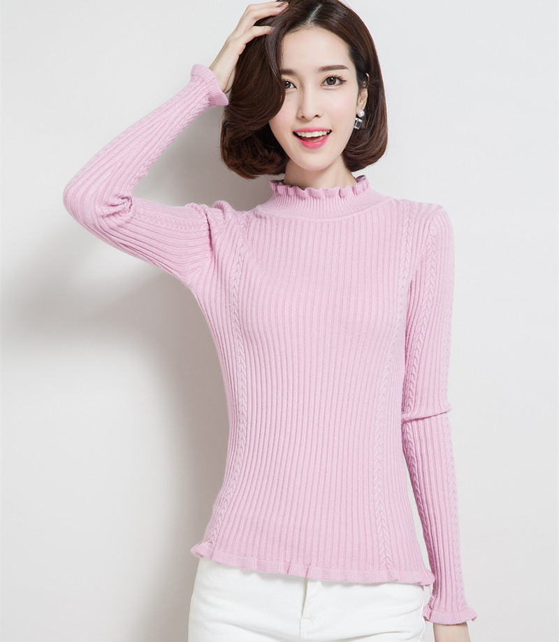 Women's Clothing Ohclothing 2017 New Sweaters Winter Half Korean Slim Lace Collar Shirt Sleeve Head Female Knitted Sweater F1355