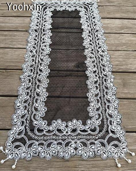 Buy Luxury Black Beads Embroidered Bed Table Runner Cloth Cover Flag Mantel