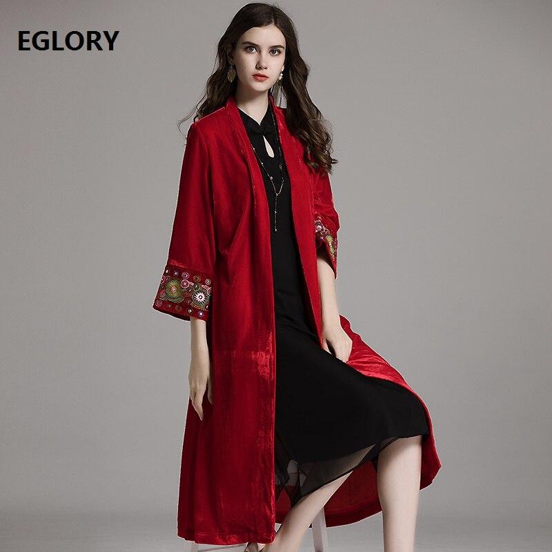 Одежда высшего качества длинное пальто Тренч 2018 Осенняя мода пальто кардиган бархат Для женщин Винтаж вышивка плюс Размеры длинное пальто