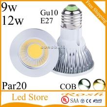 9w 12w E27 GU10 LED COB PAR20 прожектор потолочная лампа настенная лампа холодный белый теплый белый AC 90-260V для домашнего декора гостиной