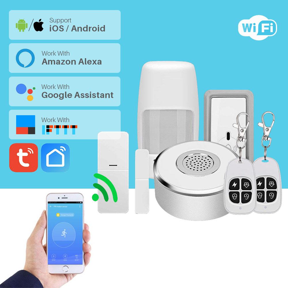 WiFi Smart Home Security System Kit Door Window Alarm PIR Motion Sensor APP Notification Compatible With Alexa Google Home IFTTT