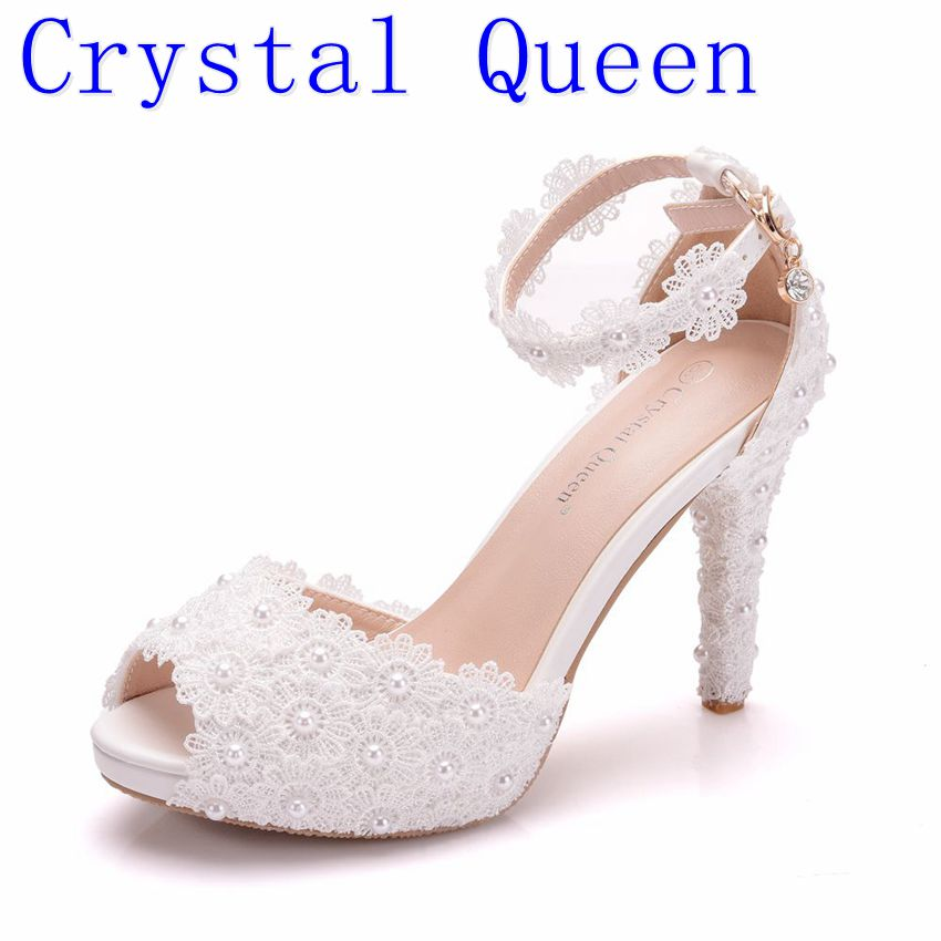 Crystal Queen Women Platform Sandals High Heels Waterproof Female White Lace Wedding Shoes Pointed Toe Peep Lace Flower Pearls