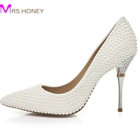European And American Luxury Pearl Pointed Toe Wedding Shoes Ivory Bridesmaid Shoes High Heeled Party Prom