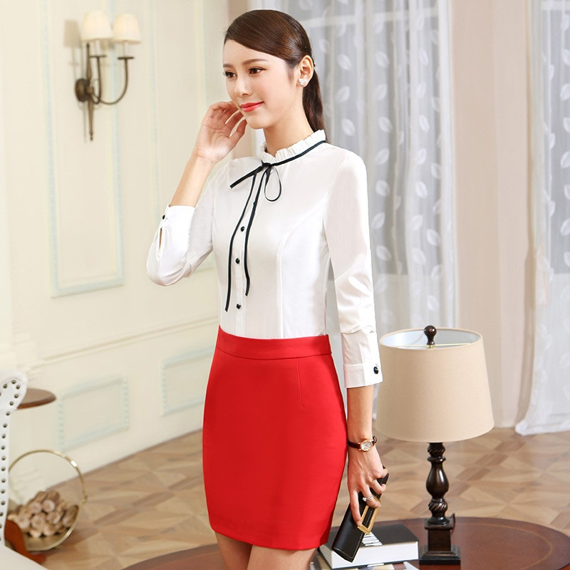 Autumn Winter Formal OL Styles Suits With 2 Piece Blouses And Skirt For Women Business Work Wear Skirts Outfits Plus Size