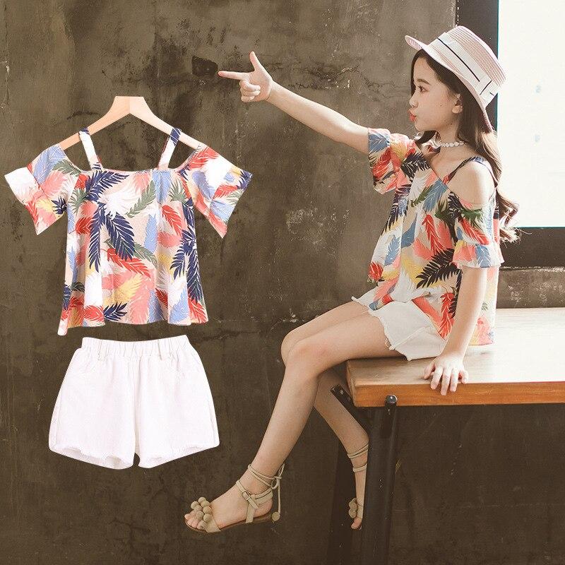 54f0995f8 Conjuntos de ropa para niñas adolescentes niños ropa traje pluma estampado  Tops + pantalones ...