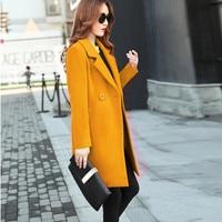 Women Winter Jacket Ladies Fashion Elegant Warm Woolen Coat Cashmere Like Solid Thicker Parka Cardigan Slim