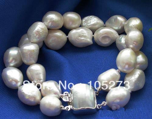Neue Ankömmling Perlenschmuck 2 Reihen 8 ''11 12mm Barocke Weiße Zuchtperle Armband Shell Verschluss Großhandel Neues Freies Verschiffen