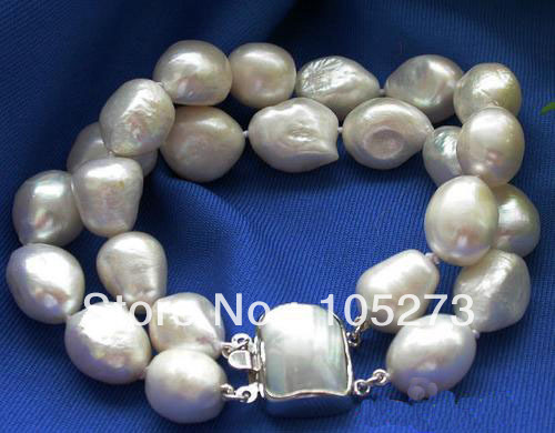 New Arriver Pearl Jewelry 2Rows 8'' 11-12mm Baroque White Cultured Pearl Bracelet Shell Clasp Wholesale New Free Shipping