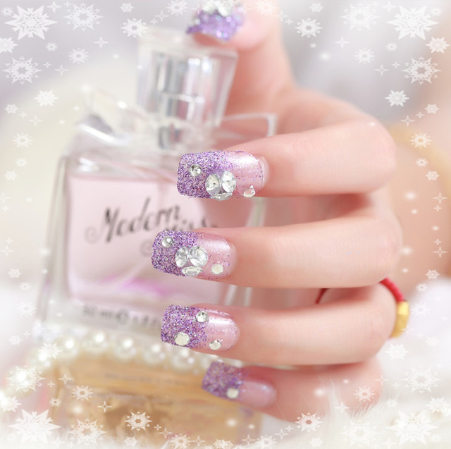 violet glitter false nails rhinestone decorated bridal elegant ...