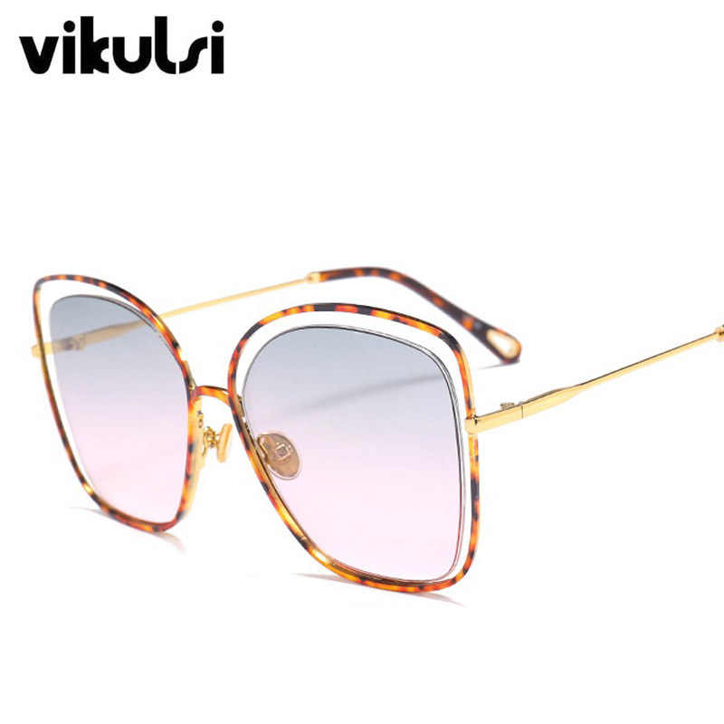 b55fd2c2c4d ... Oversized New Fashion Square Sunglasses For Women Gradient Lens Eyewear  Vintage Top Sun Glasses For Female ...