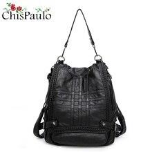 CHISPAULO Новый Элитный бренд Для женщин Пояса из натуральной кожи Рюкзаки молнии Повседневное большой Ёмкость Женский школьная сумка рюкзак для ноутбука N028