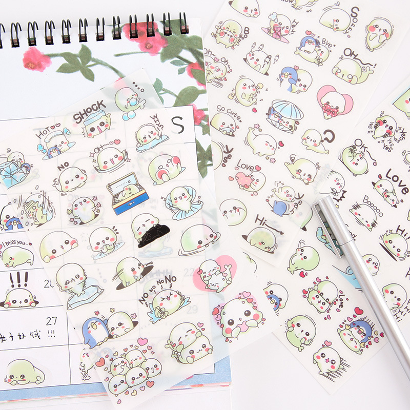 6 Sheets/pack Cute Sea Lions Decoration Stickers Scrapbooks Stick Labels Journal Diary Stationery Stickers