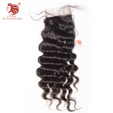 "[FYNHA] Brazilian Virgin Hair Lace Closure Loose Wave 100% Human Hair Free Part 4""x 4"" Free Shipping"