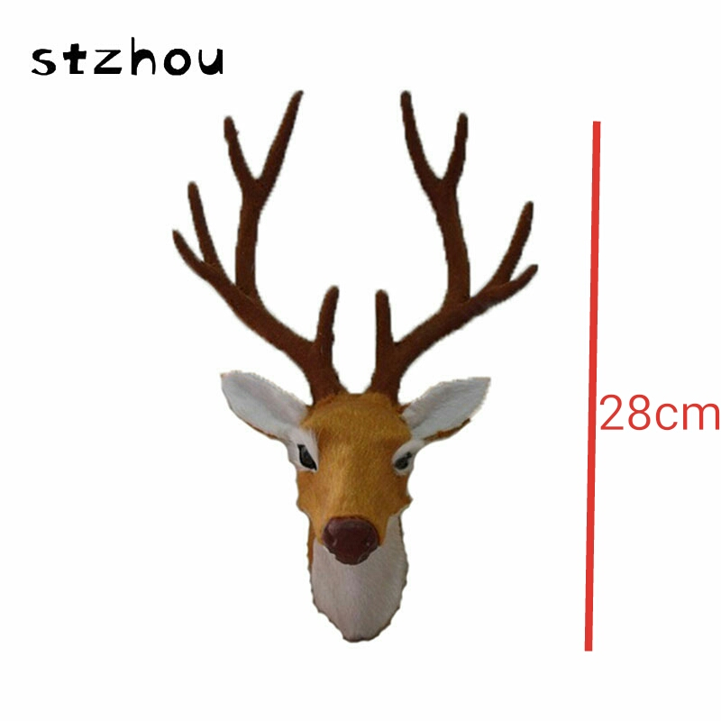 StZhou Simulation Animal Deer head Plush Genuine Leather Toy Plush Doll Toy For Kids Birthday Gift Home pendant stuffed animal 44 cm plush standing cow toy simulation dairy cattle doll great gift w501