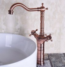 Antique Red Copper Bathroom faucet Dual Handle Vessel Sink Mixer Tap Hot and cold Deck Mounted Knf127 цена в Москве и Питере
