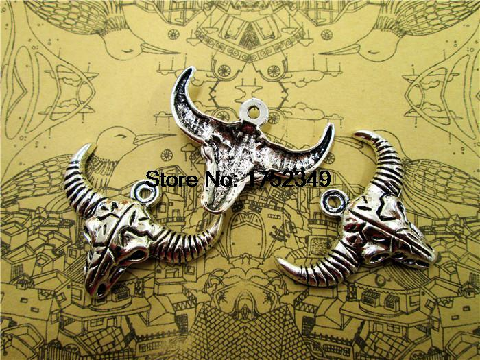 30pcs-<font><b>Longhorn</b></font> <font><b>Charms</b></font>, Antique Tibetan silver Cattle Skull <font><b>charm</b></font> pendants 36x28mm image