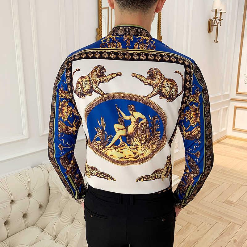 2019 Cetak Kemeja Baru Baroque Slim Fit Pakaian Gaya Punk Yang Pesta Klub Kemeja Pria Camisa Lengan Panjang Baju Atasan S-4XL