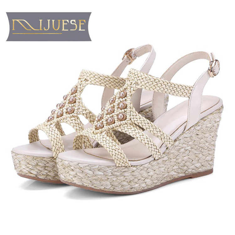 MLJUESE 2018 women sandals cow leather pearls brown color open toe wedges sandals fisherman shoes platform beaches sandals