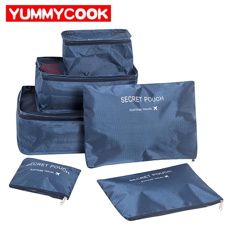 Set Von 6 Duffle Taschen Reise Kits Familie Kleidung Schuhe Unterwäsche Make-Up Toiletry Lagerung Box Camping Outdoor Sport Liefert